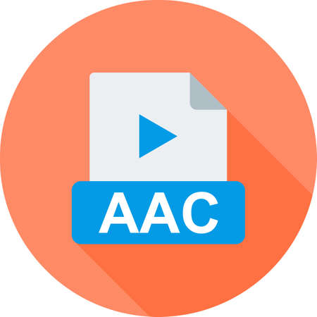 wav: AAC, flat, design icon vector image. Can also be used for file format, design and storage. Suitable for mobile apps, web apps and print media.