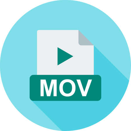 mov: MOV, play, symbol icon vector image. Can also be used for file format, design and storage. Suitable for mobile apps, web apps and print media.