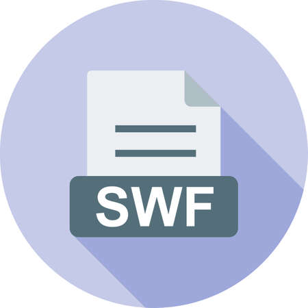 computer animation: SWF, file, format icon vector image. Can also be used for file format, design and storage. Suitable for mobile apps, web apps and print media. Illustration