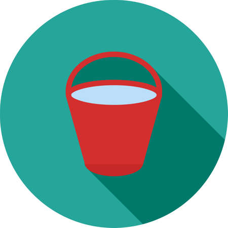 bucket water: Bucket, water, tin icon vector image.Can also be used for gardening. Suitable for mobile apps, web apps and print media. Illustration