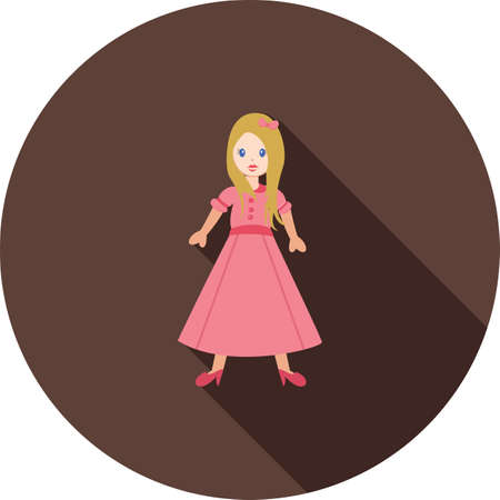 barbie: Doll, barbie, birthday icon vector image.Can also be used for toy and games. Suitable for mobile apps, web apps and print media.