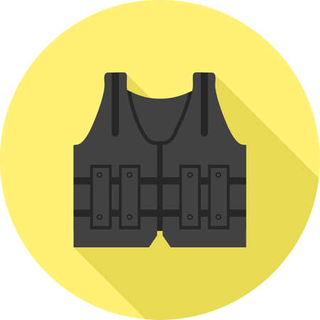 bulletproof vest: Vest, police, bullet icon vector image.Can also be used for law and order. Suitable for mobile apps, web apps and print media.