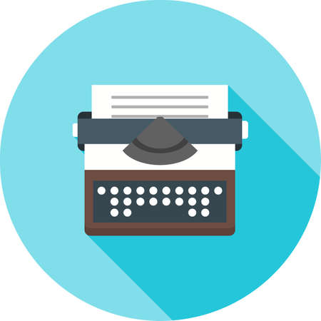 type writer: Typewriter, writing, letter icon vector image.Can also be used for law and order. Suitable for mobile apps, web apps and print media.