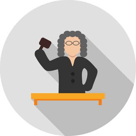 mandato judicial: Juez, corte, icono de la responsabilidad vectorial image.Can tambi�n ser utilizado para el orden p�blico. Adecuado para aplicaciones m�viles, aplicaciones web y medios impresos. Vectores