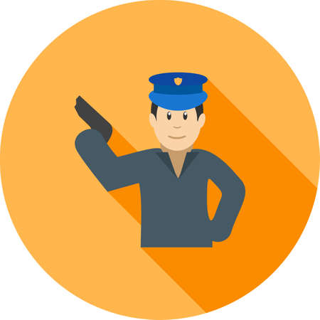 dangerous work: gun, holding, policeicon vector image.Can also be used for law and order. Suitable for mobile apps, web apps and print media.
