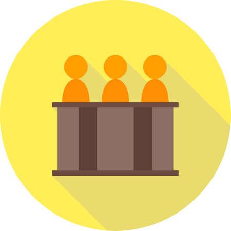 orden judicial: El juez, el panel, icono de la corte del vector image.Can tambi�n ser utilizado para el orden p�blico. Adecuado para aplicaciones m�viles, aplicaciones web y medios impresos. Vectores