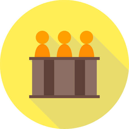 arbitration: Judge, panel, court icon vector image.Can also be used for law and order. Suitable for mobile apps, web apps and print media.