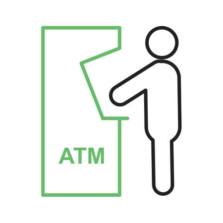automatic transaction machine: Atm, receipt, card icon vector image. Can also be used for humans. Suitable for use on web apps, mobile apps and print media.