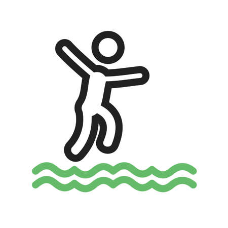 risky: Cliff, jump, water icon vector image. Can also be used for outdoor fun. Suitable for use on web apps, mobile apps and print media.