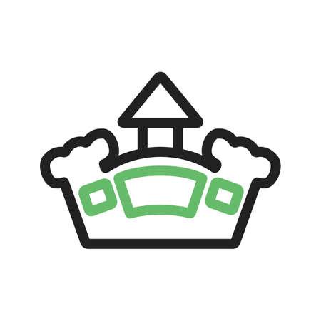 brincolin: Castillo, imagen vectorial hinchable, parque icono. Tambi�n se puede utilizar para la diversi�n al aire libre. Adecuado para su uso en aplicaciones web, aplicaciones m�viles y material de impresi�n. Foto de archivo