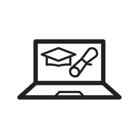 schooling: Degree, online, university icon vector image. Can also be used for schooling. Suitable for use on web apps, mobile apps and print media. Illustration