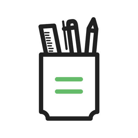 pen holder: Stationery, holder, pencil icon vector image. Can also be used for schooling. Suitable for use on web apps, mobile apps and print media. Illustration