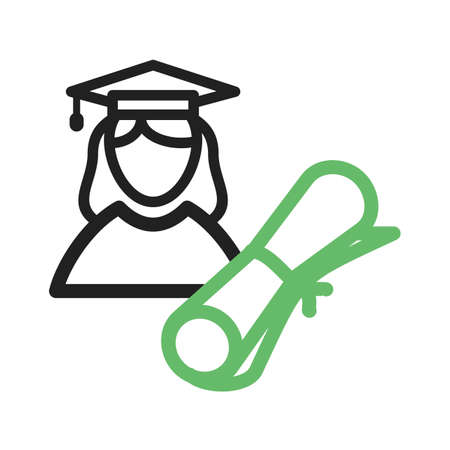 schooling: Graduate, female, university icon vector image. Can also be used for schooling. Suitable for use on web apps, mobile apps and print media.