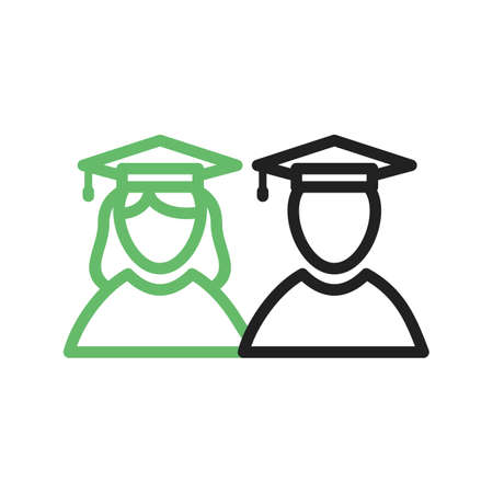 academic achievement: Graduate, students, university icon vector image. Can also be used for schooling. Suitable for use on web apps, mobile apps and print media. Illustration