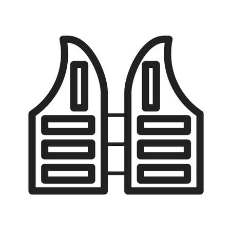 lifejacket: Life, jacket, vest icon vector image. Can also be used for sea. Suitable for use on web apps, mobile apps and print media. Illustration