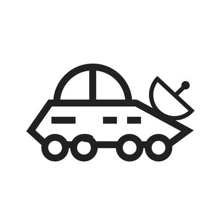 broadcast: Vehicle, news, broadcast icon vector image.Can also be used for astronomy. Suitable for use on web apps, mobile apps and print media. Illustration