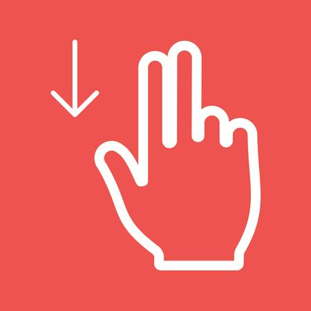 touch down: Touch, fingers, down icon vector image.Can also be used for user touch gestures. Suitable for mobile apps, web apps and print media. Illustration