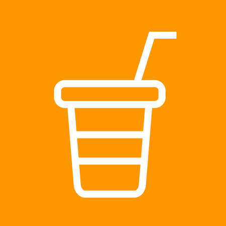 plastic straw: Juice, cup, plastic icon vector image. Can also be used for outdoor fun. Suitable for use on web apps, mobile apps and print media Illustration