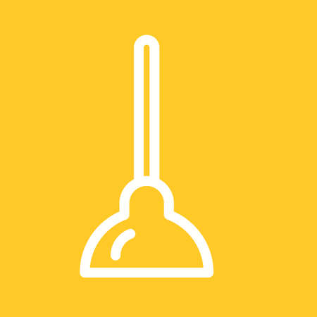 clogged: Plunger, toilet, handle icon vector image. Can also be used for tools. Suitable for use on web apps, mobile apps and print media.