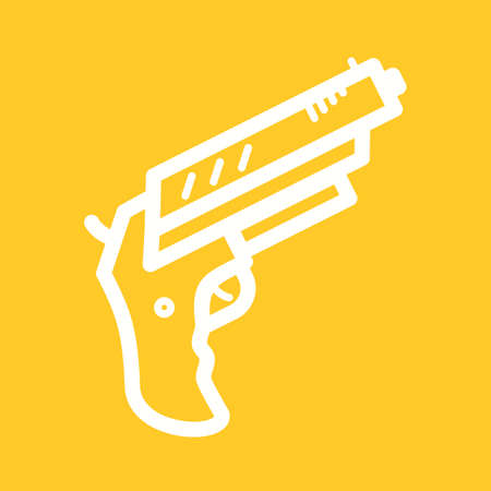 use pistol: Gun, pistol, shot icon vector image. Can also be used for games & entertainment. Suitable for use on web apps, mobile apps and print media.