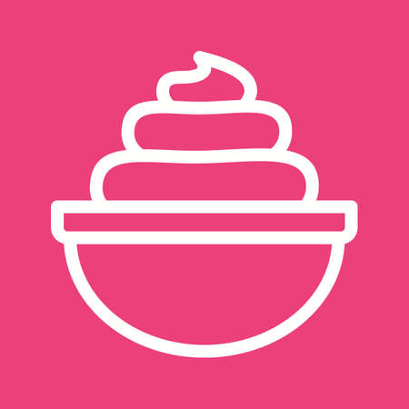 vanilla pudding: Cream, whipped, bakery icon vector image.Can also be used for bakery. Suitable for mobile apps, web apps and print media. Illustration