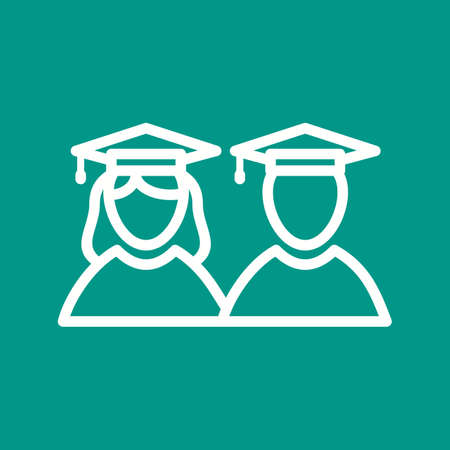 schooling: Graduate, students, university icon vector image. Can also be used for schooling. Suitable for use on web apps, mobile apps and print media. Illustration