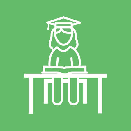 schooling: Student, female, college icon vector image. Can also be used for schooling. Suitable for use on web apps, mobile apps and print media.