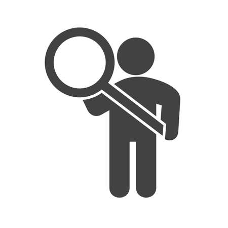 investigations: Search, magnifying, glass icon vector image. Can also be used for humans. Suitable for use on web apps, mobile apps and print media.