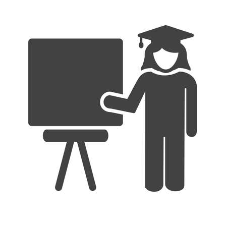 schooling: Professor, female, teacher icon vector image. Can also be used for schooling. Suitable for use on web apps, mobile apps and print media. Illustration