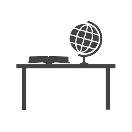 study desk: Study, desk, studying icon vector image. Can also be used for schooling. Suitable for use on web apps, mobile apps and print media.