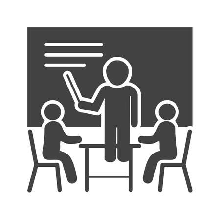 schooling: Business, male, presentation icon vector image. Can also be used for schooling. Suitable for use on web apps, mobile apps and print media.