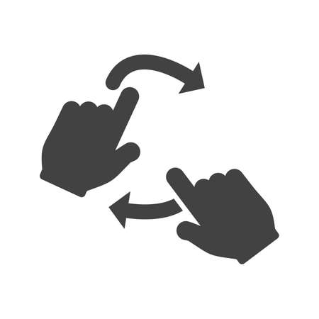 rotate icon: Hand, slide, rotate icon vector image.Can also be used for user touch gestures. Suitable for mobile apps, web apps and print media. Illustration