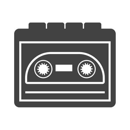 Reproductor, música, imagen de vector de icono de cassette. También se puede usar para hipster. Adecuado para su uso en aplicaciones web, aplicaciones móviles y medios impresos.
