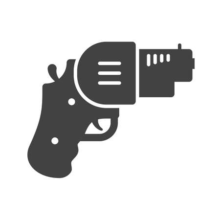 use pistol: Revolver, gun, pistol icon vector image. Can also be used for games & entertainment. Suitable for use on web apps, mobile apps and print media.