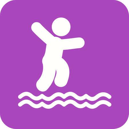 high sea: Cliff, jump, water icon vector image. Can also be used for outdoor fun. Suitable for use on web apps, mobile apps and print media.