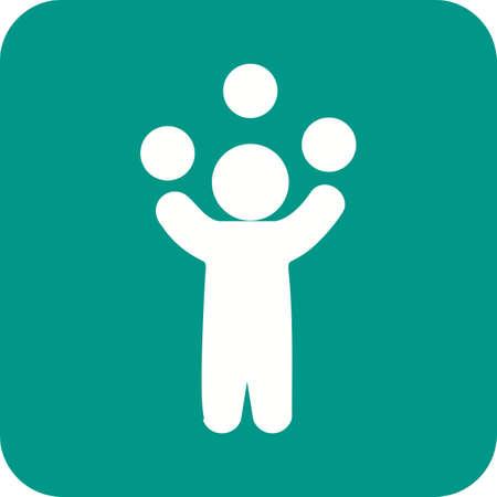 Malabares, juglar, bolas de icono de la imagen del vector. También se puede utilizar para la diversión al aire libre. Adecuado para su uso en aplicaciones web, aplicaciones móviles y material de impresión.