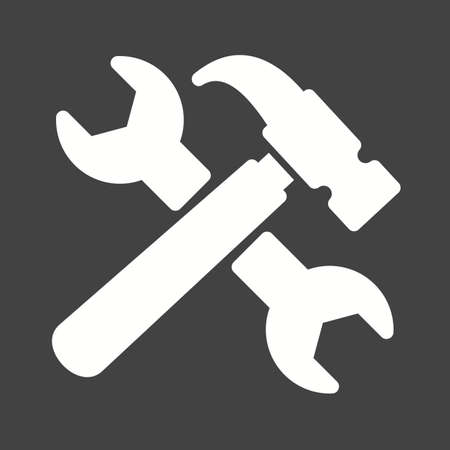 metal worker: Wrench, spanner, hammer icon vector image. Can also be used for tools. Suitable for use on web apps, mobile apps and print media.