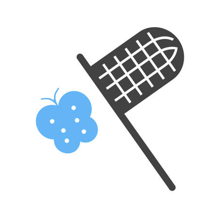 catching: Butterfly, net, catching icon vector image. Can also be used for outdoor fun. Suitable for use on web apps, mobile apps and print media.