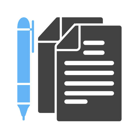 pen and paper: Pen, paper, document icon vector image. Can also be used for schooling. Suitable for use on web apps, mobile apps and print media.