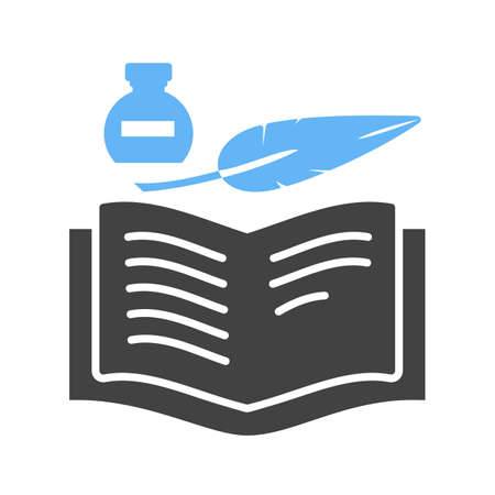 schooling: Book, old, quill icon vector image. Can also be used for schooling. Suitable for use on web apps, mobile apps and print media.