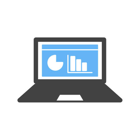 schooling: Online, stats, chart icon vector image. Can also be used for schooling. Suitable for use on web apps, mobile apps and print media.