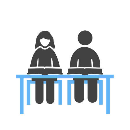 schooling: Student, sitting, school icon vector image. Can also be used for schooling. Suitable for use on web apps, mobile apps and print media.