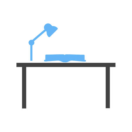 final examination: Study, desk, studying icon vector image. Can also be used for schooling. Suitable for use on web apps, mobile apps and print media.