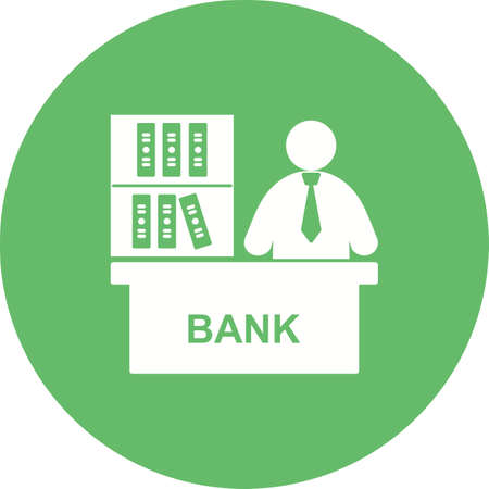 bank manager: Business, mortgage, banker icon vector image. Can also be used for humans. Suitable for use on web apps, mobile apps and print media.