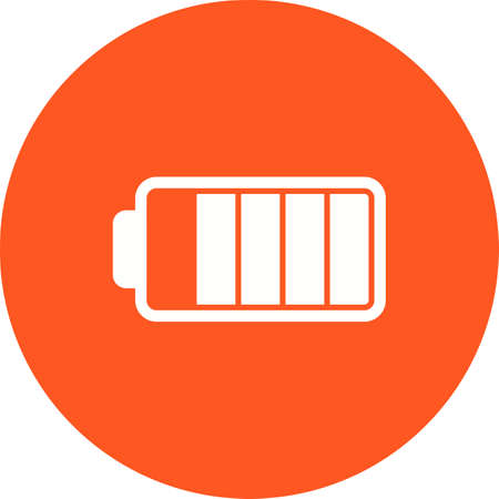 recharge: Battery, half, sign icon vector image. Can also be used for photography. Suitable for use on web apps, mobile apps and print media.