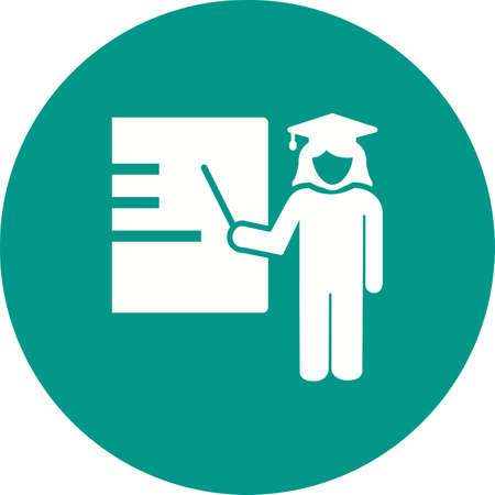 schooling: Business, female, presentation icon vector image. Can also be used for schooling. Suitable for use on web apps, mobile apps and print media. Illustration
