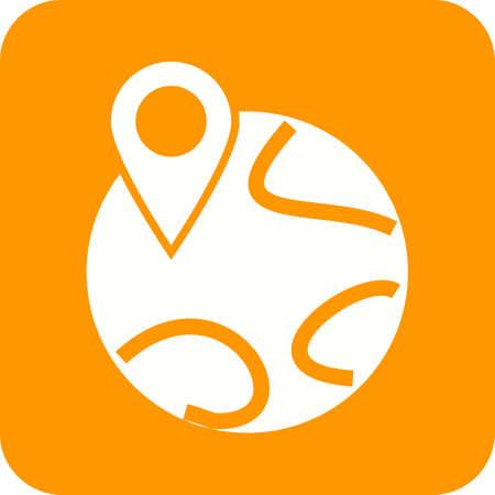 Mondo, mappa, immagine icona del vettore individuare. Può essere utilizzato anche per le mappe di navigazione. Adatto per applicazioni mobili, applicazioni web e supporti di stampa.