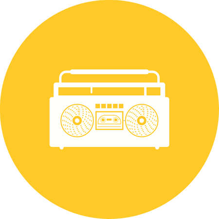 casette: Music, casette, sound icon vector image. Can also be used for hipster. Suitable for web apps, mobile apps and print media.