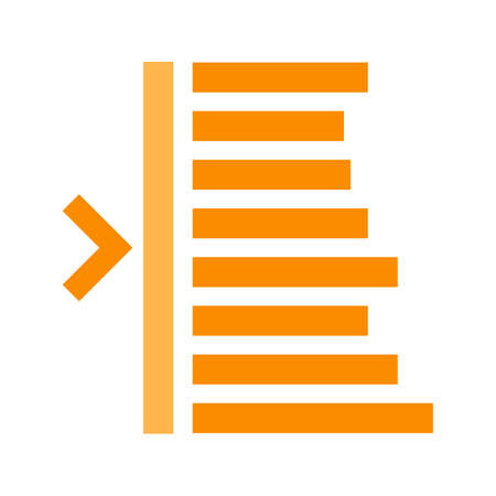 indent: Text, edit, left icon vector image. Can also be used for text editing. Suitable for use on web apps, mobile apps and print media.