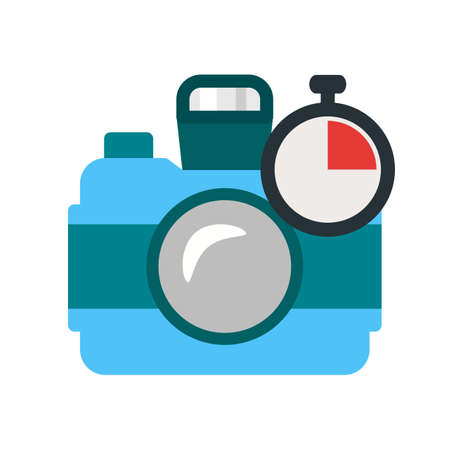 Camera, timer, film icon vector image. Can also be used for photography. Suitable for use on web apps, mobile apps and print media.